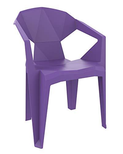 resol Delta sillón Silla con Brazos de plástico para jardín Exterior terraza - Color Violeta, Set de 2 Unidades