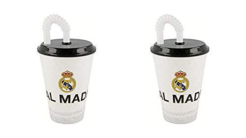 2327; pak 2 stokglazen Real Madrid, inhoud 430 ml elk; plastic product; Geen BPA