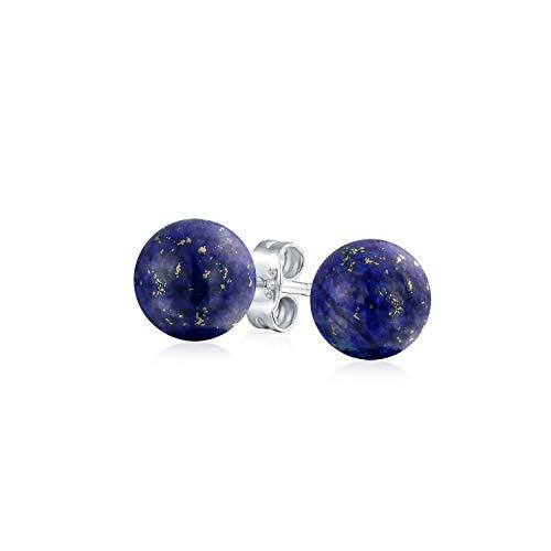 Einfache Dunkelblaue Lapis Lazuli Edelstein Runde Kreis Kugel Ohrstecker Für Frauen Für Männer 925 Sterling Silber 6Mm