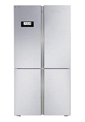 Grundig GQN21235XN - Combinación SBS, 4 puertas, estantes de cristal de 80 cm de ancho, sin heladas, temperatura deseada, suministro de agua, fabricación de cubitos de hielo, FullFresh+/38 dB