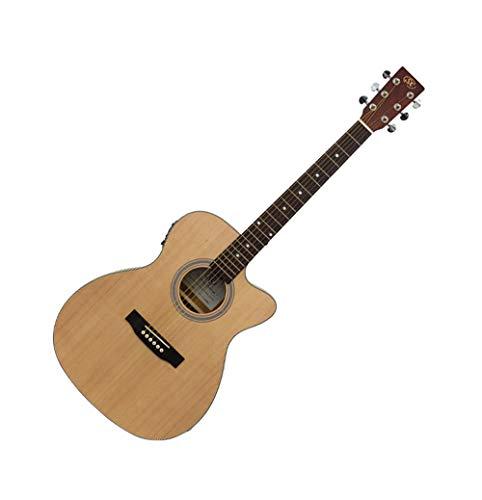 SX Guitarra electroacústica modelo D mate acabado natural cortado eléctrico