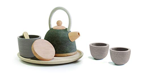 PlanToys Wooden Classic Styled Tea Party Set for a Pretend Play Tea Party (3617) | Sustainably Made from Rubberwood and Non-Toxic Paints and Dyes | Eco-Friendly PlanWood