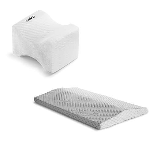 ComfiLife Knee Pillow & Lumbar Pillow for Sleeping Bundle – Ultimate Bundle for Back Pain Relief and Comfortable Sleep – 100% Memory Foam