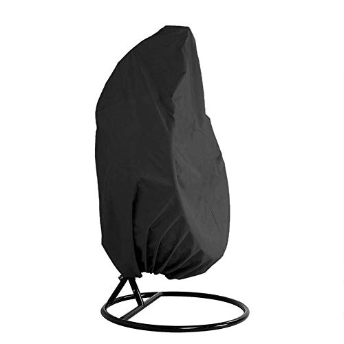 HH1 Patio Hanging Chair Cover, Swinging Waterproof Egg Chair Cover, Outdoor Dustproof Garden Rattan Wicker Swing Chair Furniture Cover, 190T,Black