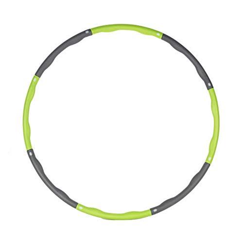 miuse Fitnesskreis, Gewichtsverlust Schlankheits Kreis, 8 Abschnitten abnehmbare Schaumbeschichtung, Reifen Hula Hoop für Kinder und Erwachsener, 1 Kg Level 1 gewichteter Reifen(Grün + Grau)