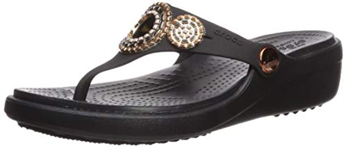 Crocs Women's Sanrah Diamante Wedge Flip Flop Sandal, black/rose gold, 10 M US