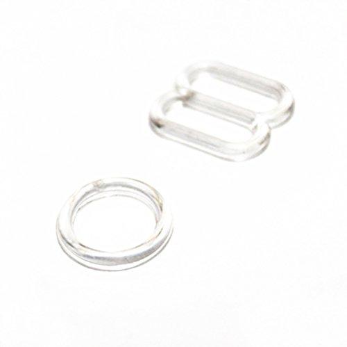 10 Sets Plastik Ringe + Schieber BH Nähzubehör Unterwäsche Transparent