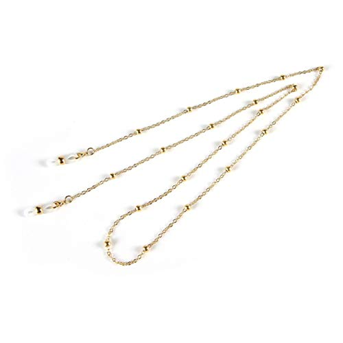 Brillenkette für Damen - Eyewear Retainer Strap - Sonnenbrille Cord - Lady Halskette - Lesebrille Lanyards mit Anti-Rutsch-Gummiring (Gold)