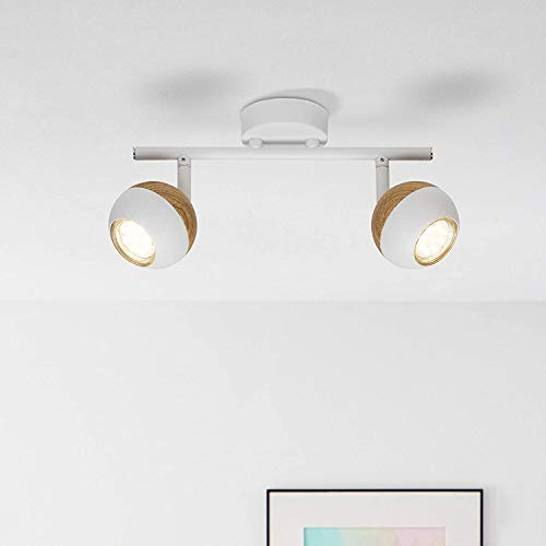 LED Spotrohr, 2-flammig, 2x 3W LED-Reflektorlampen inklusive, 2x 250 Lumen, 3000K, Metall, weiß/holz hell