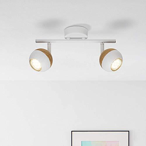 Lámpara de techo LED, 2 focos, 2 bombillas reflectoras LED de 3 W incluidas, 2 x 250 lúmenes, 3000 K, metal, blanco/madera clara