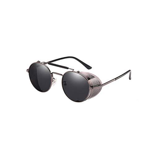 Sport-Sonnenbrillen, Vintage Sonnenbrillen, NEW Round Metal Fashion Steampunk Sunglasses Polarized Mirror Lens Round Glasses Männer WoMänner Vintage Retro Goggles Eyewear UV400 gray n gray