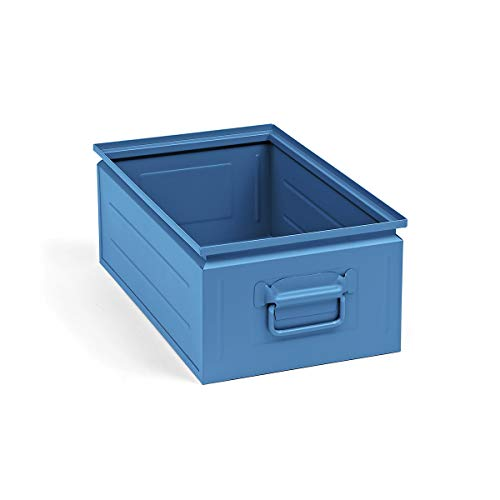 Stapelkasten aus Stahlblech - Inhalt ca. 30 l, lichtblau RAL 5012 - Stapelbehälter aus Blech Stahlblechstapelbehälter Stapelkästen Stapelkästen aus Stahlblech Lagerbehälter aus Stahl Stapelbehälter