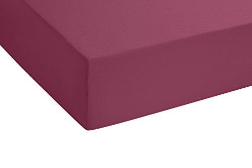 biberna 77144 Jersey-Stretch Spannbetttuch, nach Öko-Tex Standard 100, ca. 140 x 200 cm bis 160 x 200 cm, brombeere - 3
