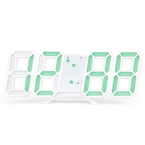 asdasdsda Home 3D LED Electronic Clock Wireless Alarm Clock Intelligent Digital Clock Automatic Sensor Light Hanging Wall Clock Calendar Thermometer Voice Control Night Light