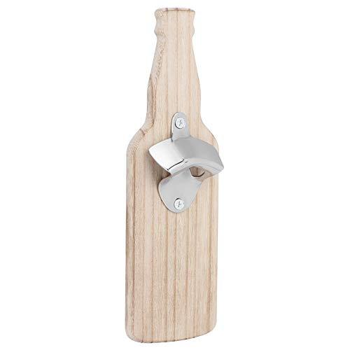 Abridor de botellas con forma de botella para el hogar, abridor de botellas de cerveza y vino de madera, accesorios adhesivos magnéticos para nevera, fácil de usar(si)