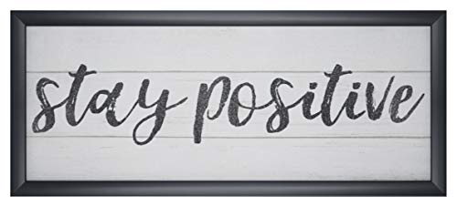 Homekor Inspirational Wall Art Sentiments - Framed Decorative Plaque, Sign with Sayings 21 x 9 (Stay Positive)