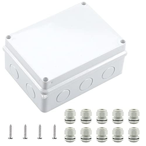 Caja de conexiones, IP65, caja de distribución para exterior, resistente al agua, caja de derivación, carcasa de instalación, para ambientes húmedos, color blanco, 150 x 110 x 70 mm