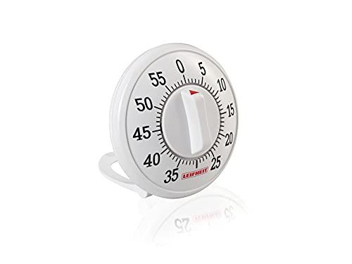 Leifheit Kurzzeitmesser ComfortLine-Serie, praktischer Küchentimer bis 60 Minuten, Eieruhr mit gut lesbarer Minutenskala, Kitchen timer benötigt keine Batterien, Küchenuhr, weiß