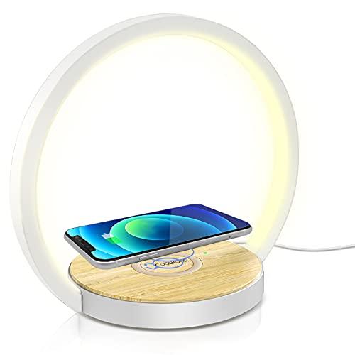 Nachttischlampe Touch Dimmbar, COOLHOOD Nachttischlampe mit Ladefunktion Tischlampe Nachtlicht Dimmbar mit 3 stufige Helligkeit 10W LED Nachtischlampe für Schlafzimmer, Warmes Weißes