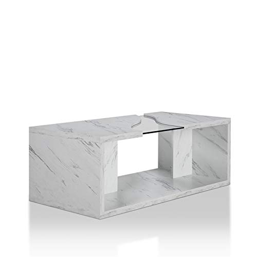 Furniture of America Lenu Contemporary Glass Insert Coffee Table in Marble White