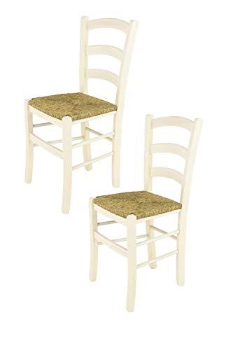Tommychairs - Set 2 sedie Venice per Cucina e Sala da Pranzo, Struttura in Legno di faggio Verniciata in anilina Bianca e Seduta in Paglia