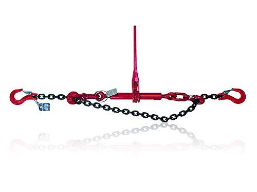 Dolezych Spannzurrkette mit Gabelkopfhaken und Ratschlastspanner mit Verkürzungshaken 2-teilig, zulässige Zugkraft 2200 daN im direkten Zug, 2 m Länge - Schwarz/Rot