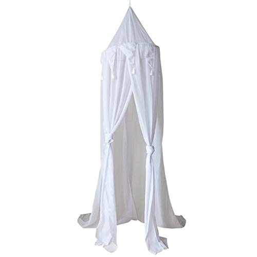 YSHTANJღ Filet de lit facile à accrocher pour chambre d'enfant en mousseline de soie avec fil de fer 240 cm pour chambre de bébé Rideau triangulaire en mousseline de soie suspendu Moustiquaire – Blanc