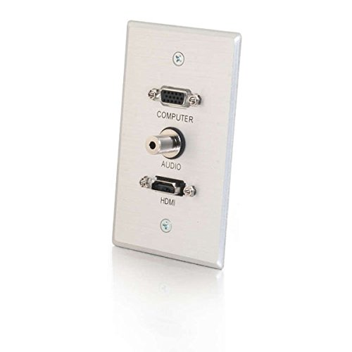 C2G 41034 HDMI, VGA and 3.5mm Audio Pass Through Single Gang Wall Plate, Brushed Aluminum