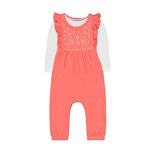 Mothercare baby-meisjes Mg Fm Coral Frill Dungaree/Ls Thee Set Kledingsset