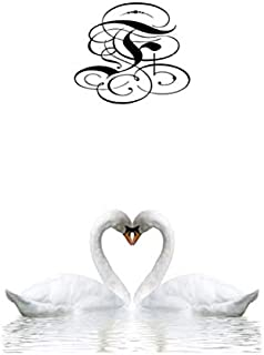 F: Vintage letter F initial.  Swans in love, a 6x9 wide ruled monogrammed notebook for women