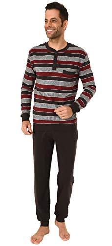 Warmer Herren Pyjama lang Schlafanzug mit Bündchen - auch in Übergrössen - 291 101 96 655, Größe2:64, Farbe:dunkelgrau