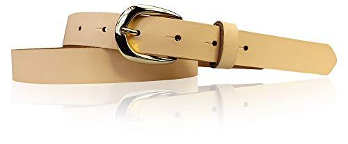 FRONHOFER schmaler Damengürtel goldene Schnalle 2,5 cm, Damen Gürtel Hufeisen Schnalle gold, 18435, Größe:Körperumfang 110 cm/Gesamtlänge 125 cm, Farbe:Peach