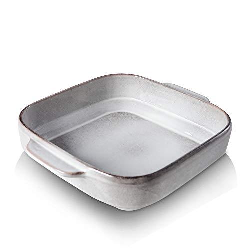 KOOV Ceramic Bakeware, 8x8 Baking Dish, Square Baking Pan, Ceramic Baking Dish, Brownie Pans for Cake Dinner, Kitchen, Reactive Glaze (Variable Grey)
