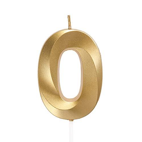 URAQT Velas De Cumpleaños Número 0, Velas De Cumpleaños Oro, Adecuado para Fiestas De Cumpleaños, Aniversarios De Bodas, Fiestas De Jubilación, Etc. 7cm