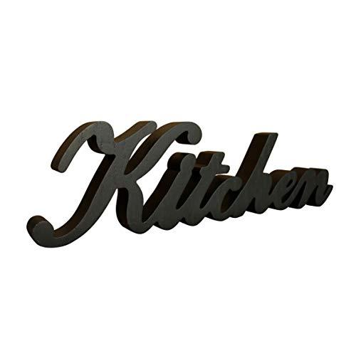 CVHOMEDECO. Insegna Rustica in Legno Nero Opaco con Scritte da appoggio Kitchen Scrivania/Tavolo/Ripiano/Porta/Decorazione della Parete di casa Art, 39.5 x 10,8 x 2,5 cm Nero