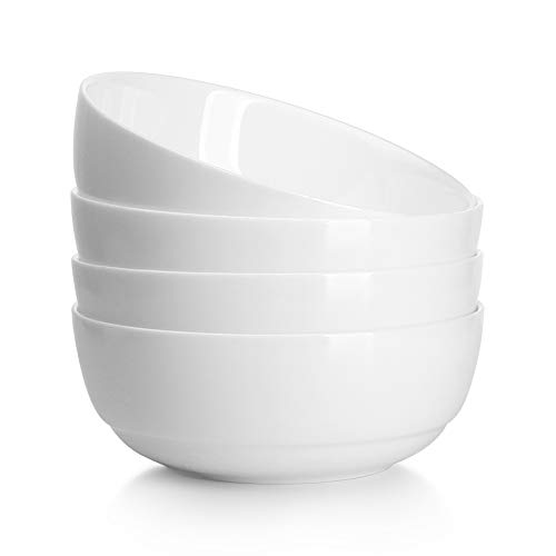 CR Creative Lifestyles Soup Bowls-28 Ounce, White Bowls Set for Rice Pasta Salad Oatmeal, Set of 4