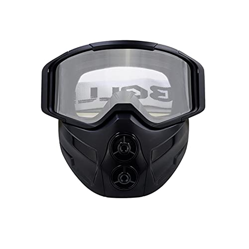 Casco Montando Gafas, con máscara Desmontable, Anti-Niebla y Gafas cálidas, cinturón Antideslizante Ajustable, Motocross Retro