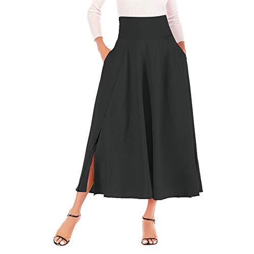 Lenfesh Para Mujeres Vintage Plisada Cintura Alta Falda Maxi con Bowknot Elegant Skirt Larga S-2XL