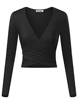 VETIOR Women s Deep V Neck Long Sleeve Unique Cross Wrap Slim Fit Crop Tops Small Black
