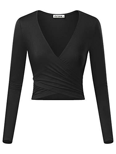 VETIOR Women's Deep V Neck Long Sleeve Unique Cross Wrap Slim Fit Crop Tops Medium Black