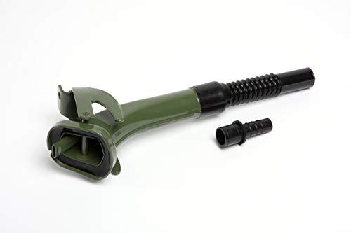 hünersdorff Bec verseur flexible pour bidon de carburant en métal - Longueur : 195 mm - Diamètre du bec : 21 mm - Vert olive