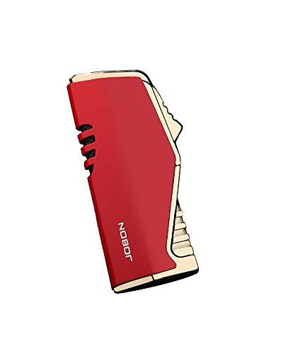 【WDMART】 葉巻 用ライター ガスライター メタルライター 充填式ライター 注入式ライター トリプル ターボ ジェット ライター 残余ガス可視化 葉巻パンチ付き 誕生日プレゼント(ガスを含んでいません) (レッド)