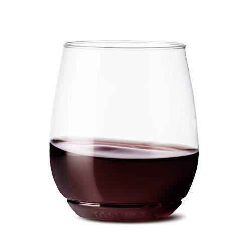 TOSSWARE - Vaso de plástico reciclable para vino, de 14 oz, sin tallo, inastillables y sin BPA, Juego de 12