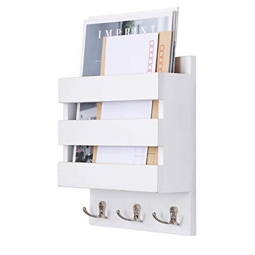 Halcent Schlüsselbrett mit Briefablage Wandorganizer, Holz Zeitschriftenhalter mit 3 Schlüsselhaken Zeitungshalter Wand für Briefen Schlüsseln Prospekten Notizen