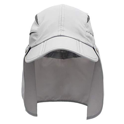 Sombrero de Playa Patrón-niño-niño Sombrero Poliéster Secado rápido Protector Solar Tapa Plegable con Cuello para Actividades al Aire Libre Proteccion Solar (Color : Light Grey, tamaño : 56 60cm)