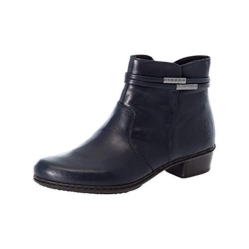 Rieker Damen Stiefeletten, Frauen Ankle Boots, Stiefel Kurzstiefel Bootie knöchelhoch reißverschluss,Blau(Navy),38 EU / 5 UK