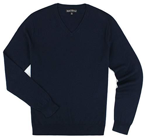 J. Crew Men's Merino Blend V-Neck Sweater (Medium, Navy)