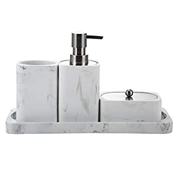 Bathroom Accessory Set 4 Pieces Countertop Bath Set Lotion / Soap Dispenser Toothbrush Cup Holder Tumbler Q-Tip Holder / Cotton Jar and Vanity Tray Marble White