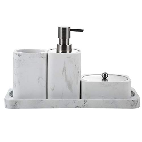 Bathroom Accessory Set, 4 Pieces, Decorative Soap Dispenser, Toothbrush Cup Holder/Tumbler, Q-Tip Dish, and Vanity Tray, Marble White, Stain and Odor Resistant (White Marble)