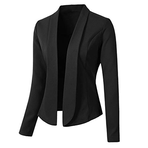 Keepmove Blazers for Women Tops Long Sleeve Jacket Ladies Office Wear Cardigan Coat Shrugs for Evening Dresses Black